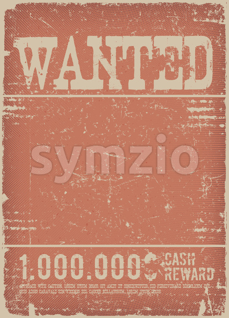 Wanted Poster On Red Grunge Background Stock Vector