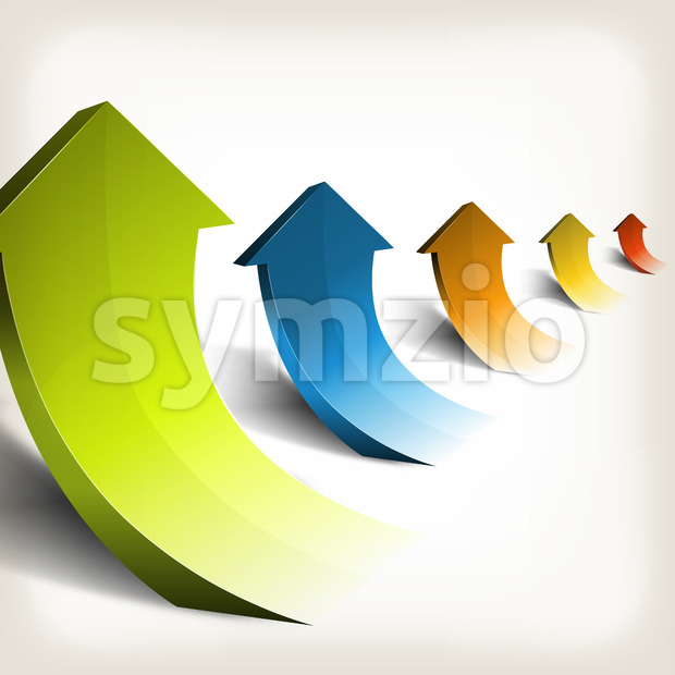 Illustration of an arrangement of abstract vintage rising arrows, symbolizing growth, wealth and success in business