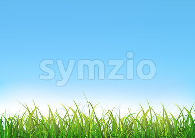 Blue Sky Background With Green Grass Stock Vector