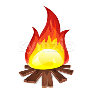 Bonfire With Wood Burning Stock Vector
