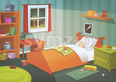 Kid Or Teenager Bedroom In The Moonlight Stock Vector