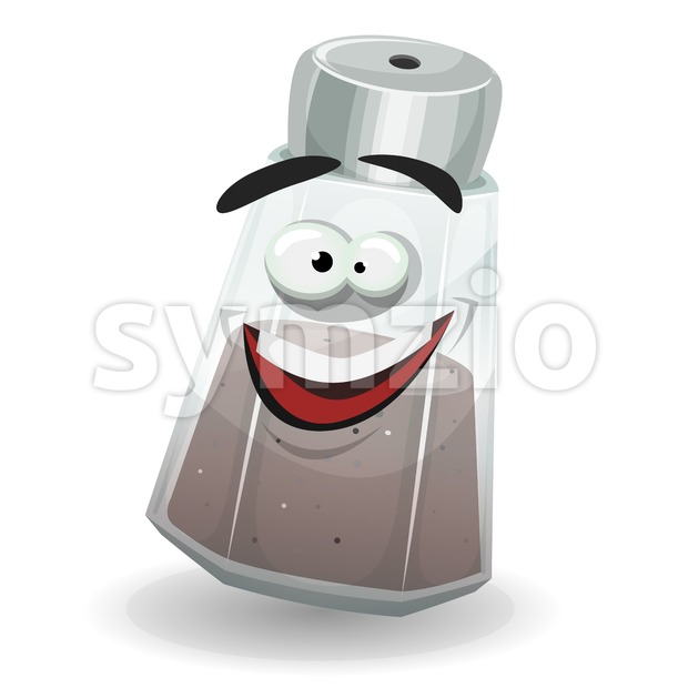 Happy Black Pepper Shaker Character Stock Vector
