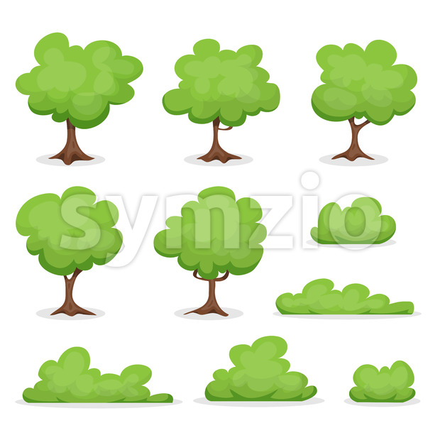 Trees, Hedges And Bush Set Stock Vector