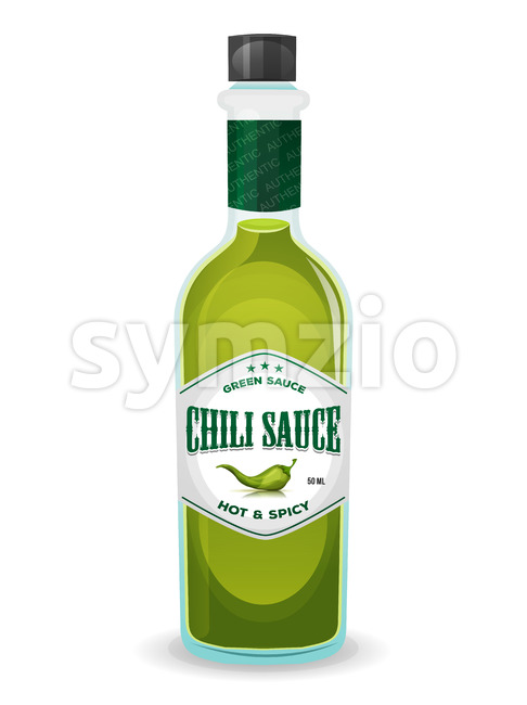 Chili Pepper Green Sauce In Bottle Stock Vector