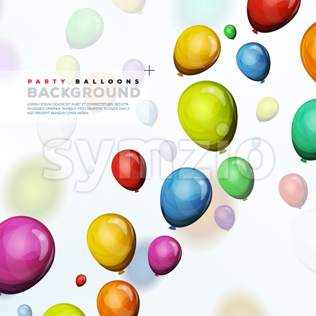 Flying Helium Balloons Background Stock Vector