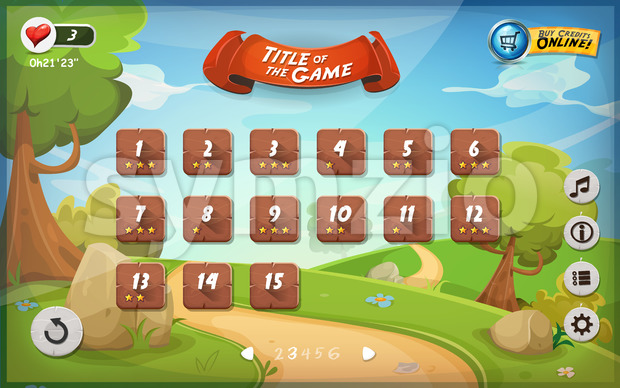 Game User Interface Design For Tablet Stock Vector