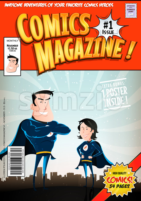 Illustration of a cartoon editable comic book cover template, with super hero man and woman characters, titles and subtitles to ...