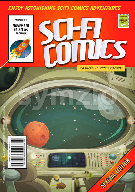 Illustration of a cartoon editable sci-fi comic book cover template, with rocket ship flying, and spaceship interior