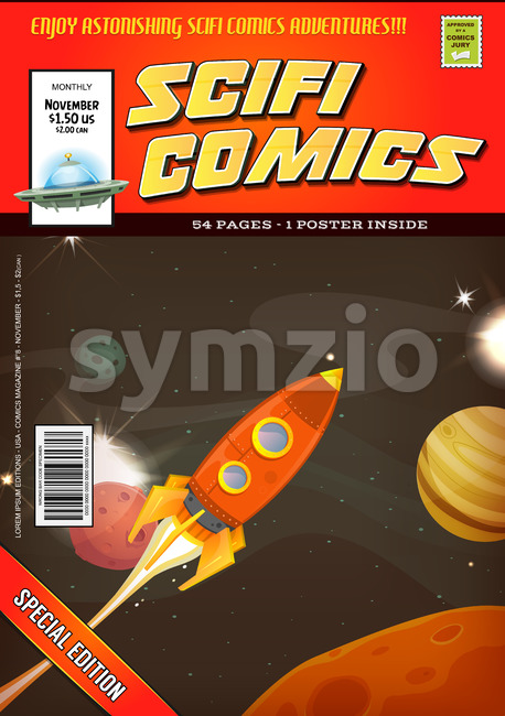 Comic Scifi Book Cover Template Stock Vector