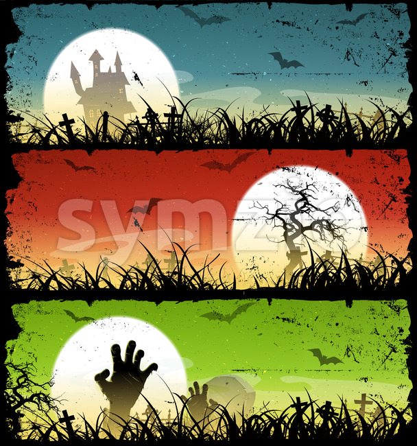 Halloween Backgrounds Set Stock Vector