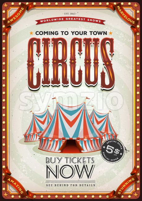 Vintage Old Circus Poster Stock Vector