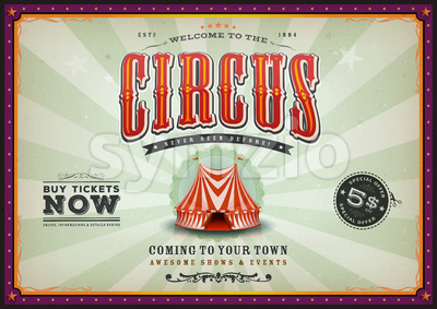 Vintage Horizontal Circus Poster With Sunbeams Stock Vector