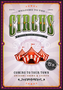 Vintage Circus Poster With Sunbeams Stock Vector