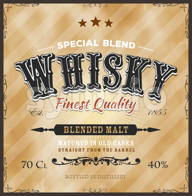 Whisky Label For Bottle Stock Vector