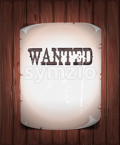 Wanted Sign On Wood Background Stock Vector