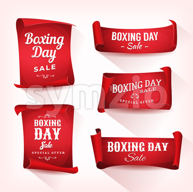 Set of Boxing Day Sale Parchment And Banners Stock Vector