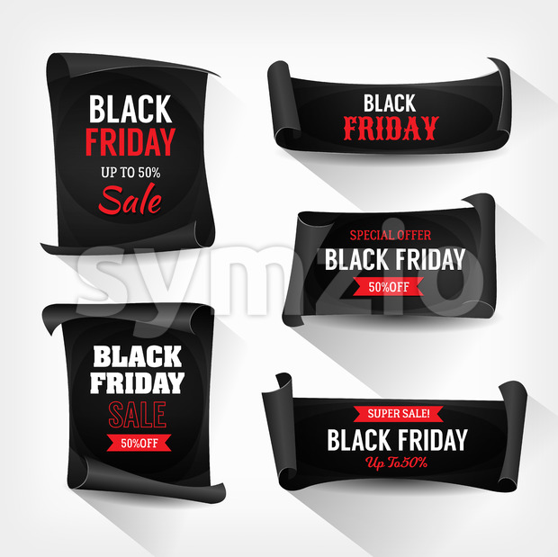 Black Friday Sale On Parchment Scrolls Stock Vector