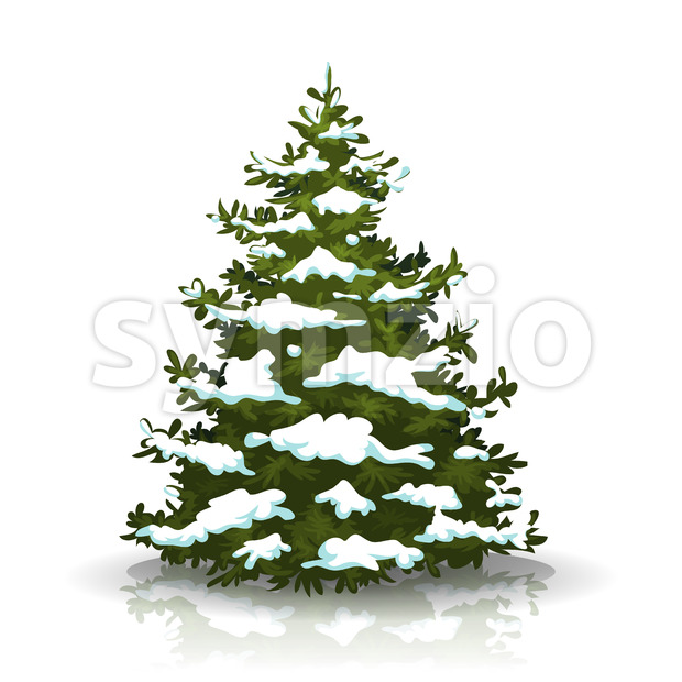Christmas Pine Tree With Snow Stock Vector
