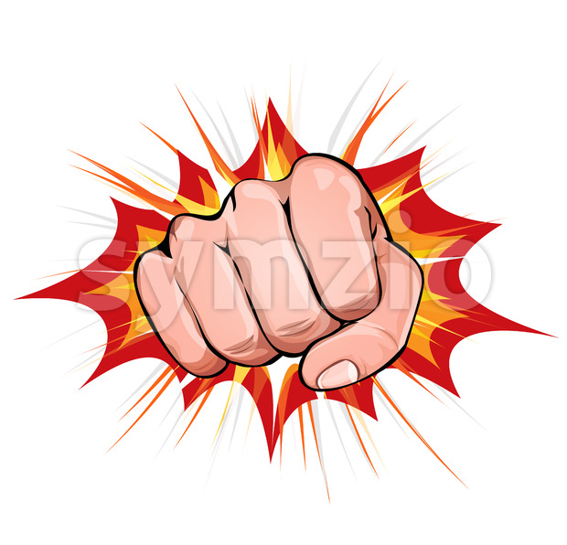 Power Fist On Blasting Background Stock Vector