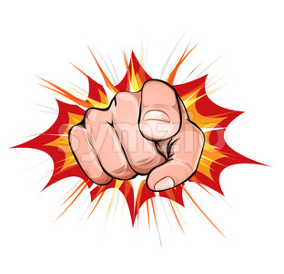 Pointing Finger On Explosion Background Stock Vector
