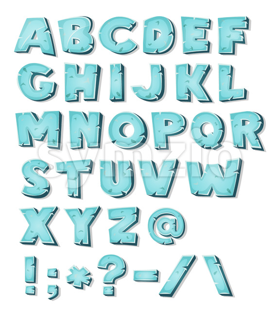 Illustration of a set of icy comic ABC letters and font characters also containing punctuation symbols
