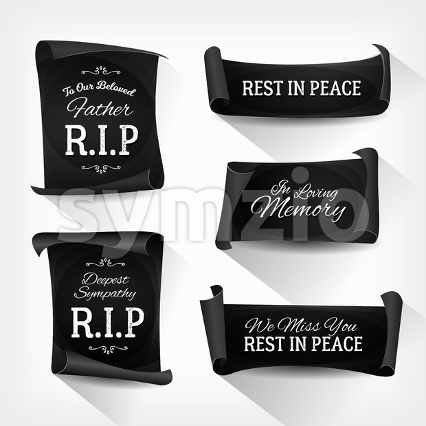 Funeral Rest In Peace Banners Stock Vector