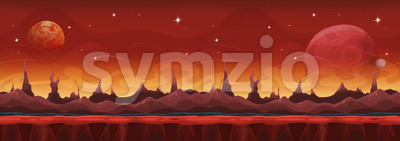 Fantasy Wide Sci-fi Martian Background For Ui Game Stock Vector