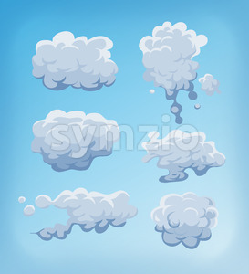 Smoke, Fog And Clouds Set On Blue Sky Stock Vector