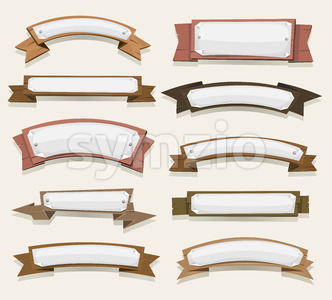 Cartoon Wood Banners And Ribbons Stock Vector