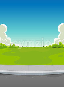Pavement And Green Park Background Stock Vector