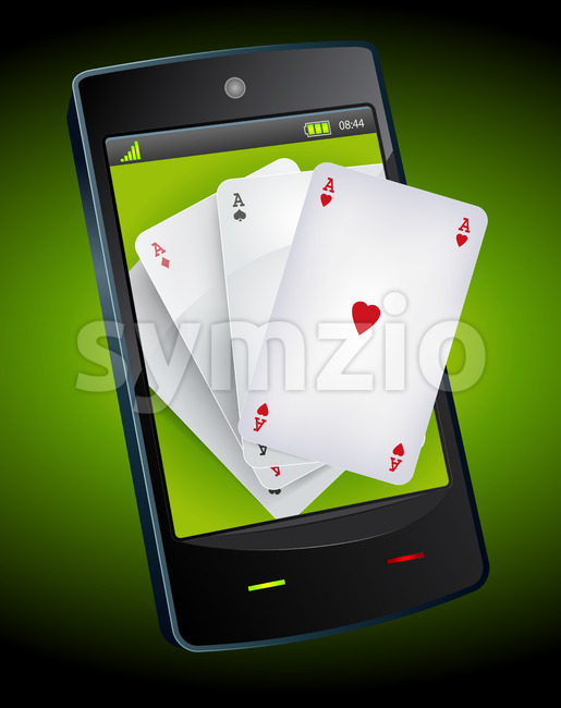 Smartphone Gambling - Poker Aces Stock Vector