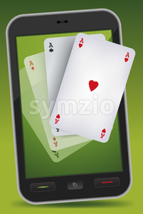 Smartphone Gambling - Four Aces Stock Vector