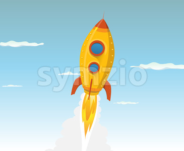 Cartoon Gold Space ship Stock Vector