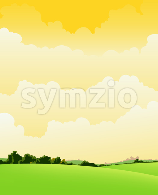 Spring And Summer Cloudy Landscape Stock Vector