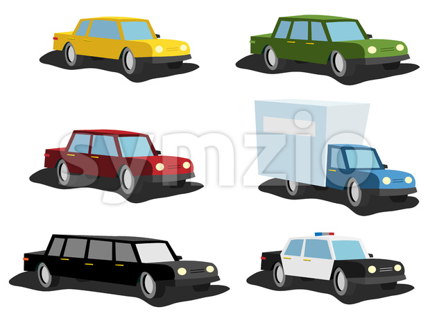 Cartoon Cars Set Stock Vector