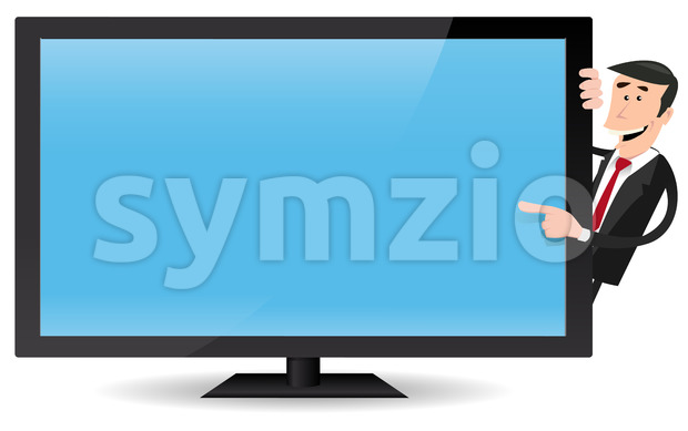 Man Pointing Flat Screen TV Stock Vector