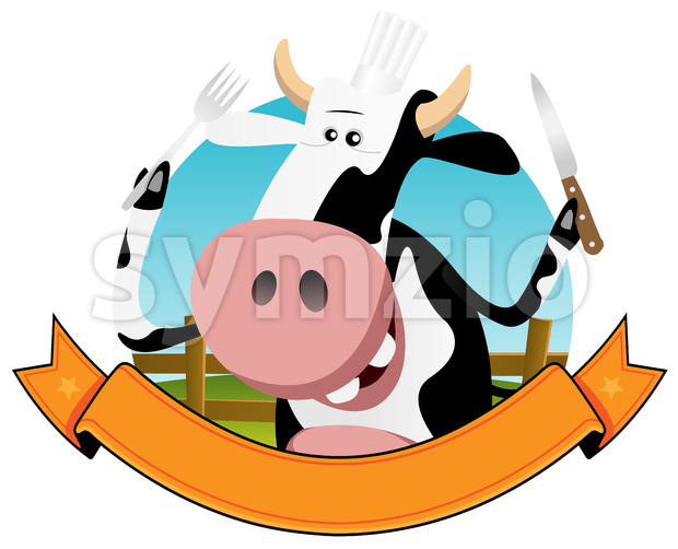 Cartoon Cow Banner Stock Vector
