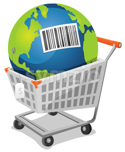 Earth For Sale With Barcode Stock Vector