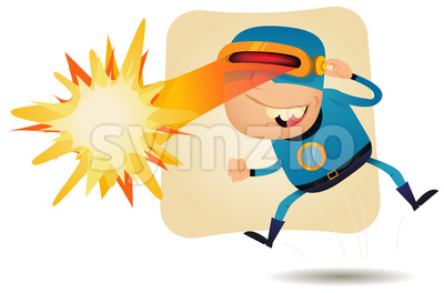 Laser Beam Head - Comic Superhero Stock Vector