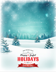 Vintage Christmas And New Year Landscape Stock Vector