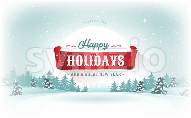 Christmas Landscape Postcard Stock Vector