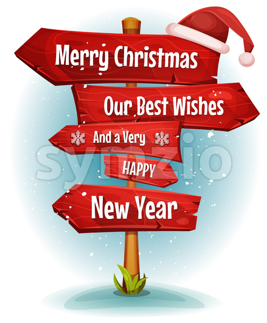 Merry Christmas Wishes On Red Signs Arrows Stock Vector