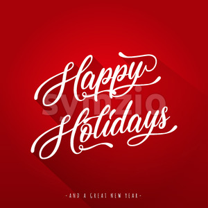 Happy Holidays Lettering Greeting Card Stock Vector