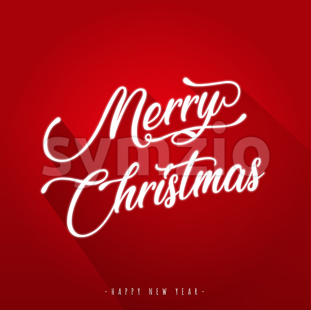 Merry Christmas with and Flat Design Stock Photo