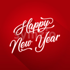 Happy New Year Lettering Card Stock Vector