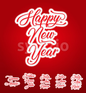Happy New Year Lettering Card In Multilanguage Stock Vector