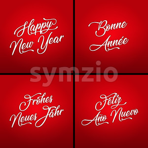 Happy New Year In Multiple Languages Stock Vector