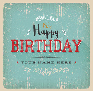 Vintage Retro Birthday Card Stock Vector