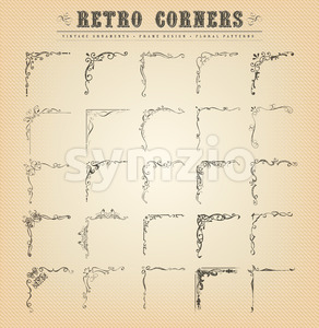 Vintage Old-Fashioned Corners, Borders And Frames Stock Vector