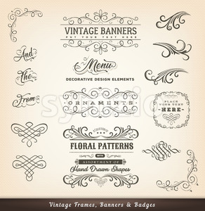 Vintage Calligraphic Design Banners Stock Vector